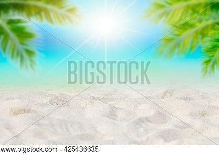 Summer Vacation White Sand Beach With Space For Text Coconut Leaves Rear Frame Sea View Energetic Fl