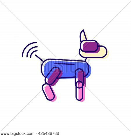 Futuristic Robot Dog Color Icon. Radio Control From Internet. Cyberpunk Idea. Bio-robot Gadgets. Fla