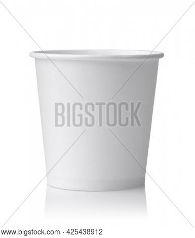 Front view of white blank disposable paper sampling cup isolated on white