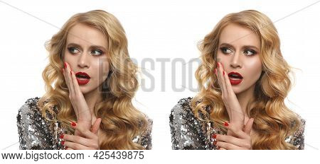 Photo Before And After Retouch, Collage. Portrait Of Beautiful Young Woman On White Background