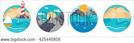 Set Of A Round Simple Landscape Of A Desert Hills, Lighthouse, Boat Into The Ocean, Mountain, Hills,