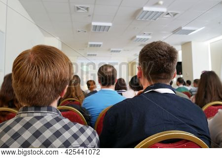 Business And Entrepreneurship Symposium. Audience In The Conference Hall After Coronavirus, Closeup