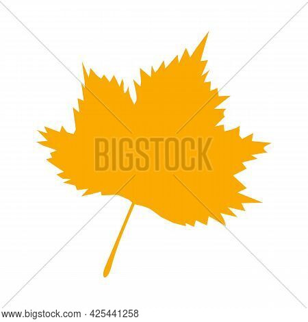 Orange Autumn Leaf, Herbal Element. Fall Orange Leaf Silhouette. Autumn Botanical Vector Flat Plant