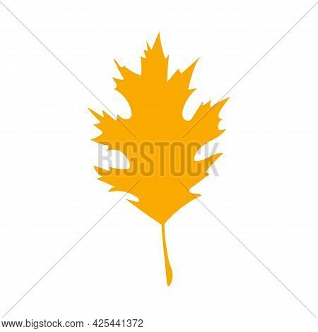 Orange Autumn Leaf, Herbal Element. Can Be Used As Sign, Symbol, Icon. Fall Orange Leaf Silhouette.