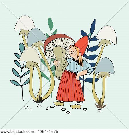Funny Female Gnome Gathering Mushrooms. Fairy Tale Elf Girl In Cartoon Style. Vector Illustration Fo