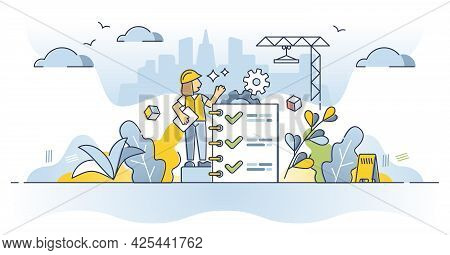 Work Safety Regulations And Worker Security Protection Policy Outline Concept. Construction Site Rul