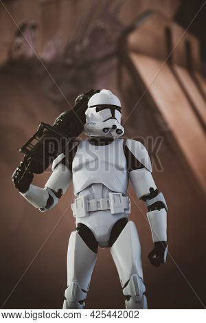 JUNE 30 2021: Star Wars The Clone Wars Phase 2 clone trooper with blaster  - Hasbro action figure