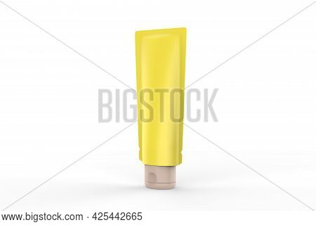 Blank Plastic Tube Mockup For Cosmetics With Cap Isolated On White Background. Can Be Use For Your D