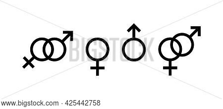 Female Gender, Male Gender. Can Be Used As An Icon Or Logo. Set Of Black Icons, Gender Sign Or Symbo