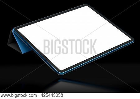 Computer Tablet With Cover Case Isolated On Black Background.