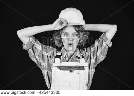 Warehouse Woman Worker. Woman Builder In Hardhat. Girl Engineer Or Architect. Home Renovation. Quali