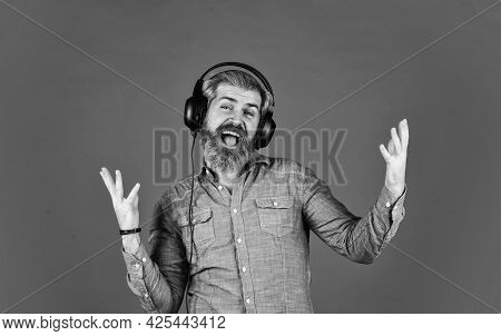 Bearded Man Hipster In Headset. Listen Audio Book. Music Beat For Energetic Mood. His Favorite Song.