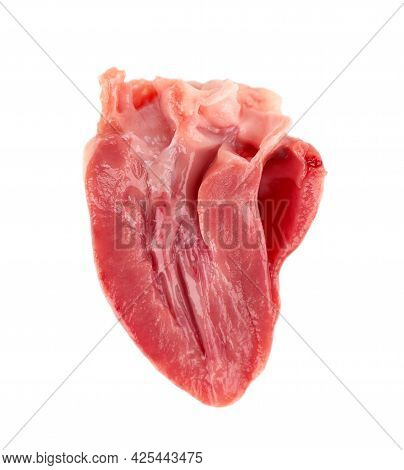 Chicken Heart Raw Isolated On White Background. Half Fresh Chicken Broiler Heart. Close Up.