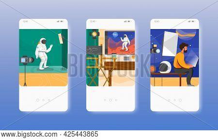 Chroma Key Film Studio. Green Screen Technology. Mobile App Screens, Vector Website Banner Template.
