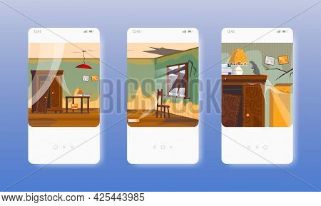 Abandoned Apartment. Empty Dirty Living Room. Mobile App Screens, Vector Website Banner Template. Ui