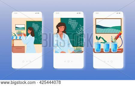 Biology Teacher Conducting Experiment With Plant. Mobile App Screens, Vector Website Banner Template