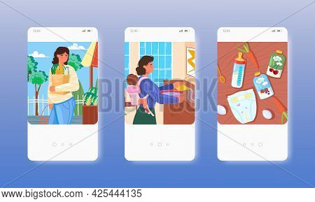 Single Pregnant Woman, Mom With Newborn Baby. Mobile App Screens, Vector Website Banner Template. Ui