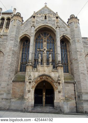 Close Up View Of The Street Entrance To The Leeds Catholic Cathedral Of Saint Annes In Leeds City Ce