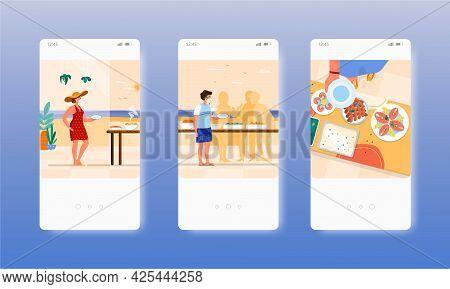Buffet Breakfast. Hotel Restaurant Catering. Mobile App Screens, Vector Website Banner Template. Ui,