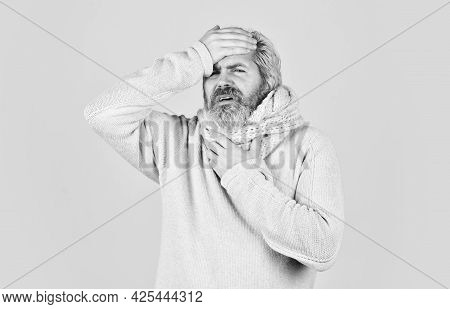 Terrible Headache. Bearded Hipster Ill. Epidemic Coronavirus From China. Weak Immunity To Virus. Man