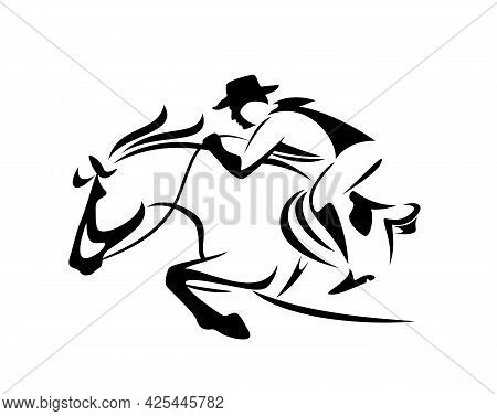 Cowboy Rider Riding Horse Jumping Forward - Wild West Ranger Black And White Vector Outline Design
