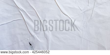 Old White Grunge Ripped Torn Collage Posters Creased Crumpled Paper Placard Texture Background With