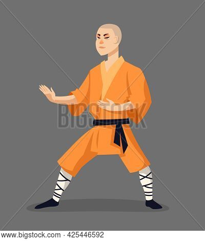 Shaolin Monk In Attacking Position. Male Character In Cartoon Style.