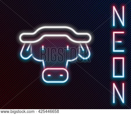 Glowing Neon Line African Buffalo Head Icon Isolated On Black Background. Mascot, African Savanna An