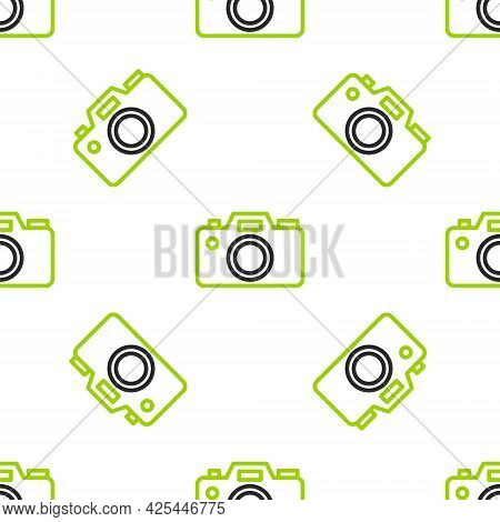 Line Photo Camera Icon Isolated Seamless Pattern On White Background. Foto Camera Icon. Vector