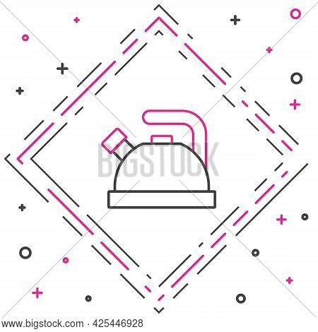 Line Kettle With Handle Icon Isolated On White Background. Teapot Icon. Colorful Outline Concept. Ve