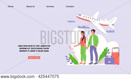 Traveling And Booking Website Interface With Young Couple At Backdrop With Flying Airplane, Flat Vec