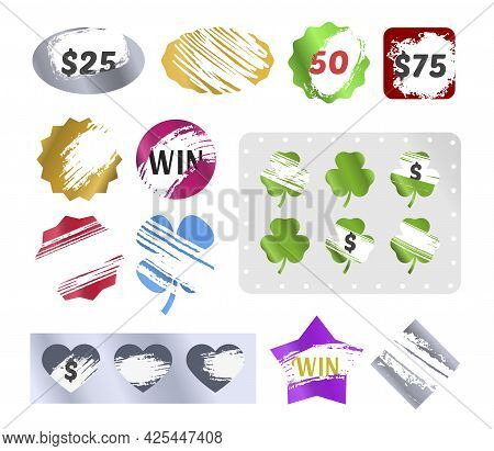 Collection Of Scratch Win Labels Vector Realistic Illustration. Set Of Marks With Scratching Effect