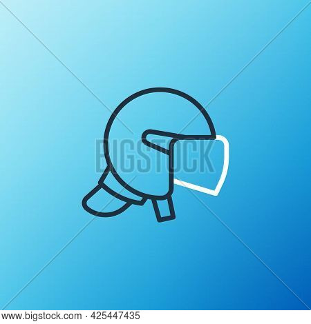 Line Police Helmet Icon Isolated On Blue Background. Military Helmet. Colorful Outline Concept. Vect