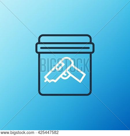 Line Evidence Bag With Pistol Or Gun Icon Isolated On Blue Background. Colorful Outline Concept. Vec