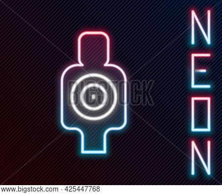 Glowing Neon Line Human Target Sport For Shooting Icon Isolated On Black Background. Clean Target Wi