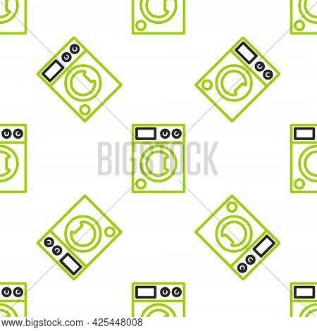 Line Washer Icon Isolated Seamless Pattern On White Background. Washing Machine Icon. Clothes Washer