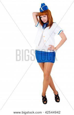 Young beautiful air hostess