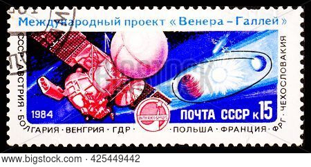 Russia, Ussr - Circa 1984: A Postage Stamp From Ussr Showing Interkosmos Venus - Halley Project