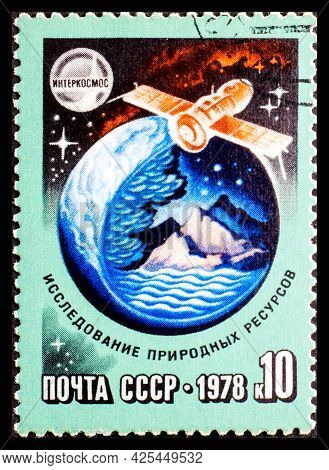 Russia, Ussr - Circa 1978: A Postage Stamp From Ussr Showing Interkosmos Exploration Of Natural Reso