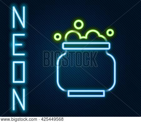 Glowing Neon Line Witch Cauldron Icon Isolated On Black Background. Happy Halloween Party. Colorful