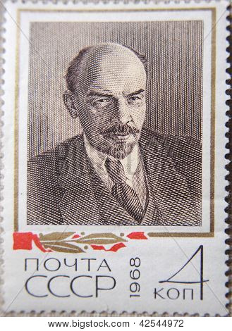 RUSSIA - CIRCA 1968: stamps printed by USSR in 1968 shows  portrait of Socialist leader Lenin