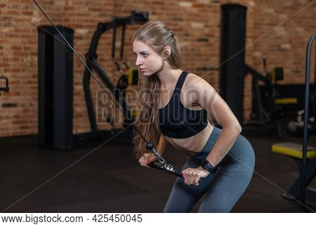 Fit Woman With Perfect Body Training Triceps With Cable Exercise Machine In The Gym