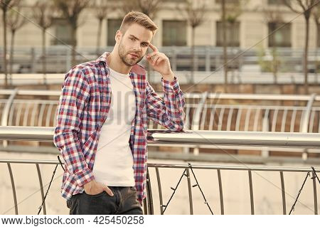 Modern Man. Caucasian Male Resting In Street. Modern Life Concept. Young Man In Checkered Shirt. Bus