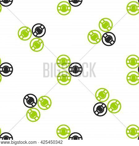 Line Billiard Pool Snooker Ball With Number 8 Icon Isolated Seamless Pattern On White Background. Ve