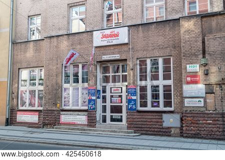 Pila, Poland - May 31, 2021: Office Of Solidarity. Solidarnosc Is  Is A Trade Union Founded In Augus