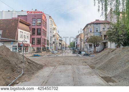 Gorzow Wielkopolski, Poland - June 1, 2021: Road Renovation In Gorzow Wielkopolski.