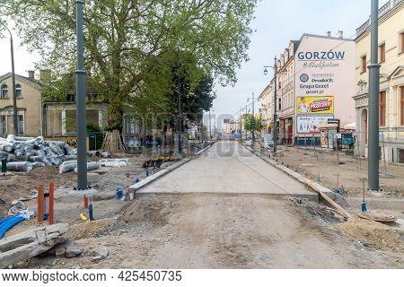 Gorzow Wielkopolski, Poland - June 1, 2021: Road Renovation In City Center Of Gorzow Wielkopolski.