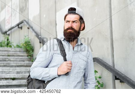 Fuel Your Soul With Travel. Confident Man Walk Street. Male Barber Care. Brutal Hipster With Travel