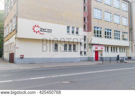 Gorzow Wielkopolski, Poland - June 1, 2021: Mechanical School.