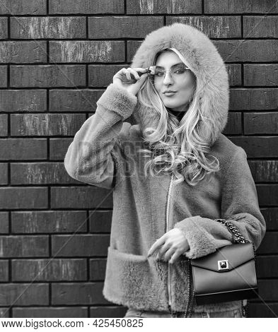Glamorous Lady. Fashion As Unique As You Are. Pink Sheepskin Coat. Fancy Chic Coat. Natural Wool She